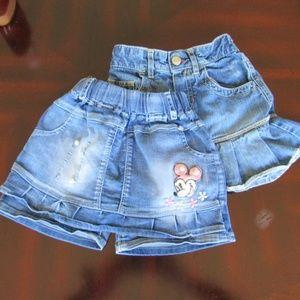 Denim Girl's Minnie Mouse Skort & Ruffled Skirt